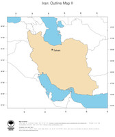 #2 Map Iran: political country borders and capital (outline map)