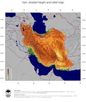 #5 Map Iran: color-coded topography, shaded relief, country borders and capital