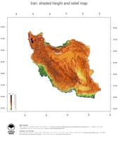 #3 Map Iran: color-coded topography, shaded relief, country borders and capital