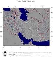 #4 Map Iran: shaded relief, country borders and capital