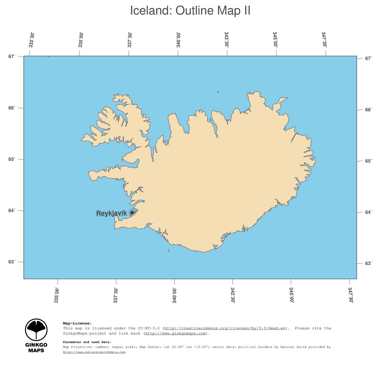 Map Iceland; GinkgoMaps continent: Europe; region: Iceland