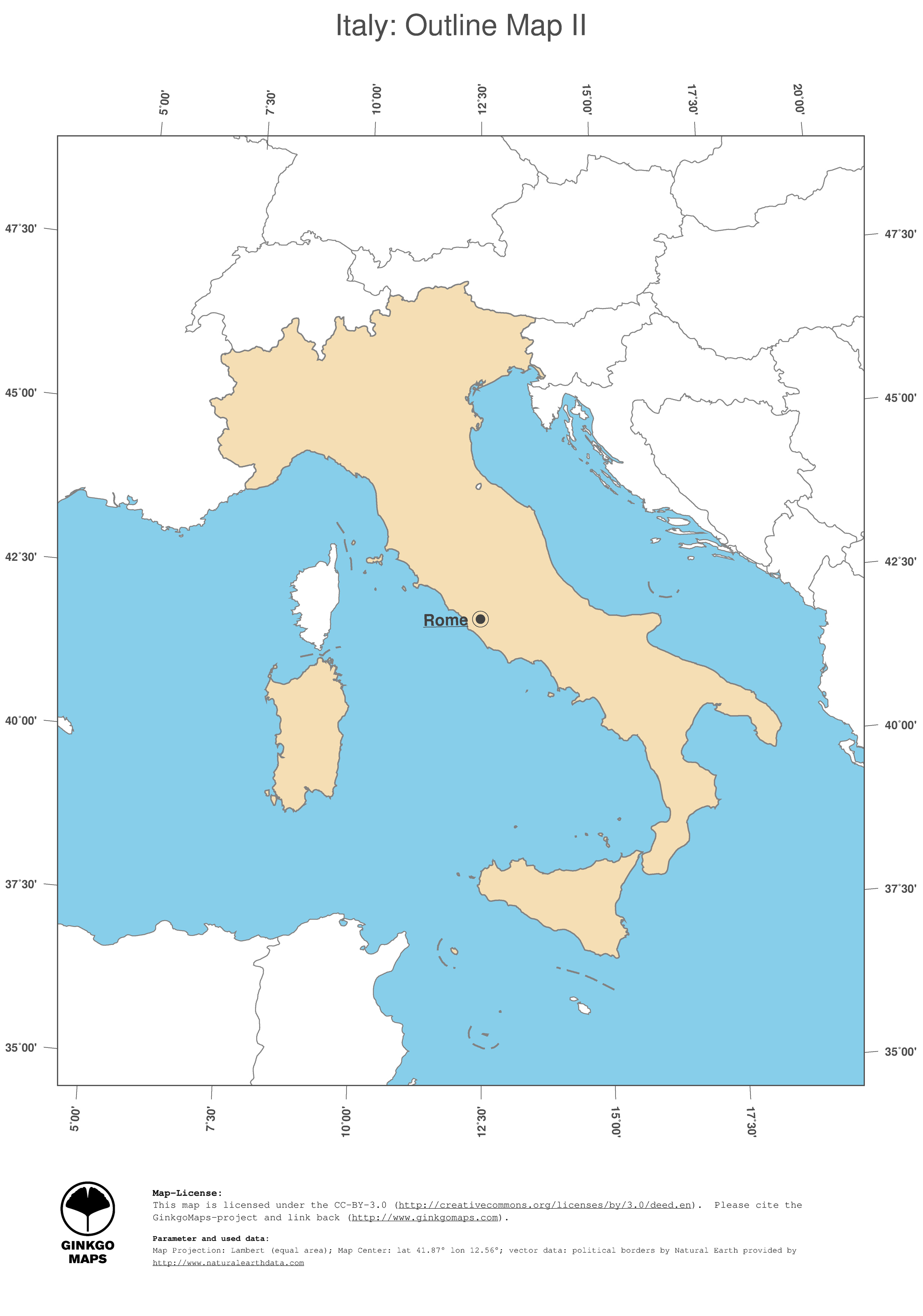 Image of: Map Italy Ginkgomaps Continent Europe Region Italy