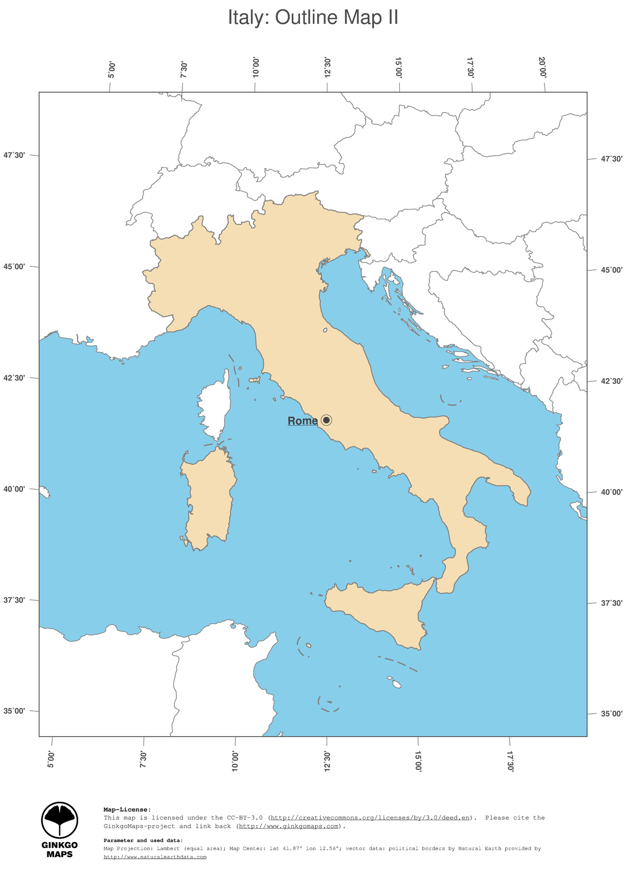 Capital Of Italy Map.Map Italy Ginkgomaps Continent Europe Region Italy