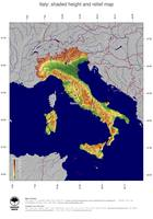 #5 Map Italy: color-coded topography, shaded relief, country borders and capital