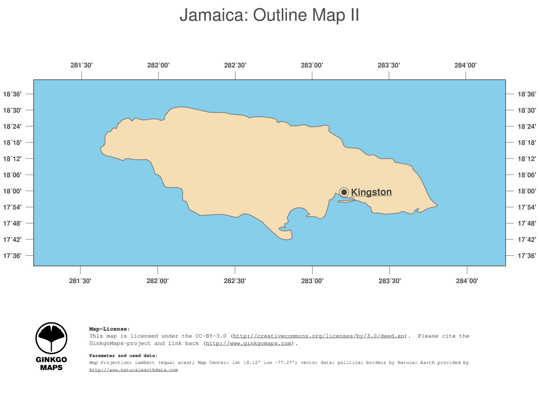 Map Of South America Jamaica.Map Jamaica Ginkgomaps Continent South America Region Jamaica