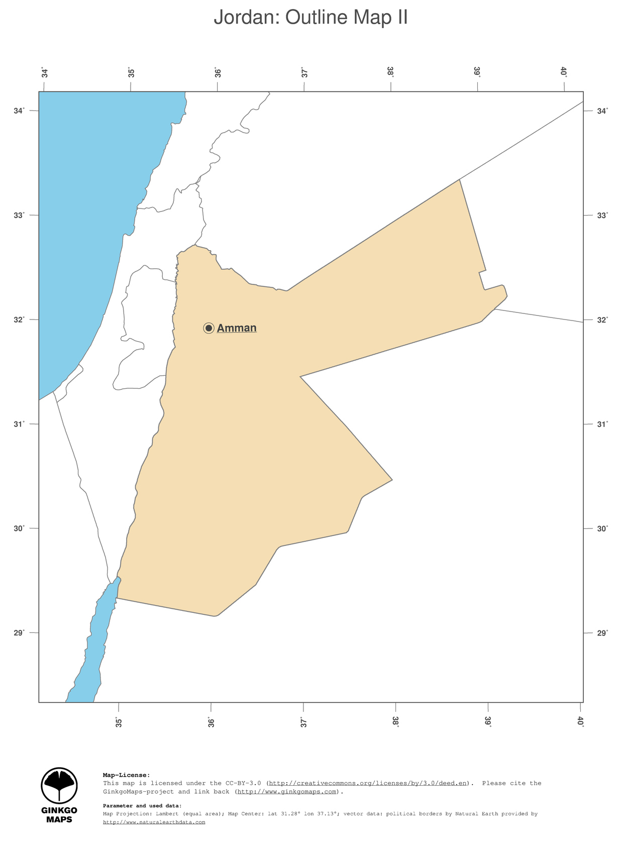 Map Jordan GinkgoMaps Continent Asia Region Jordan - Jordan map