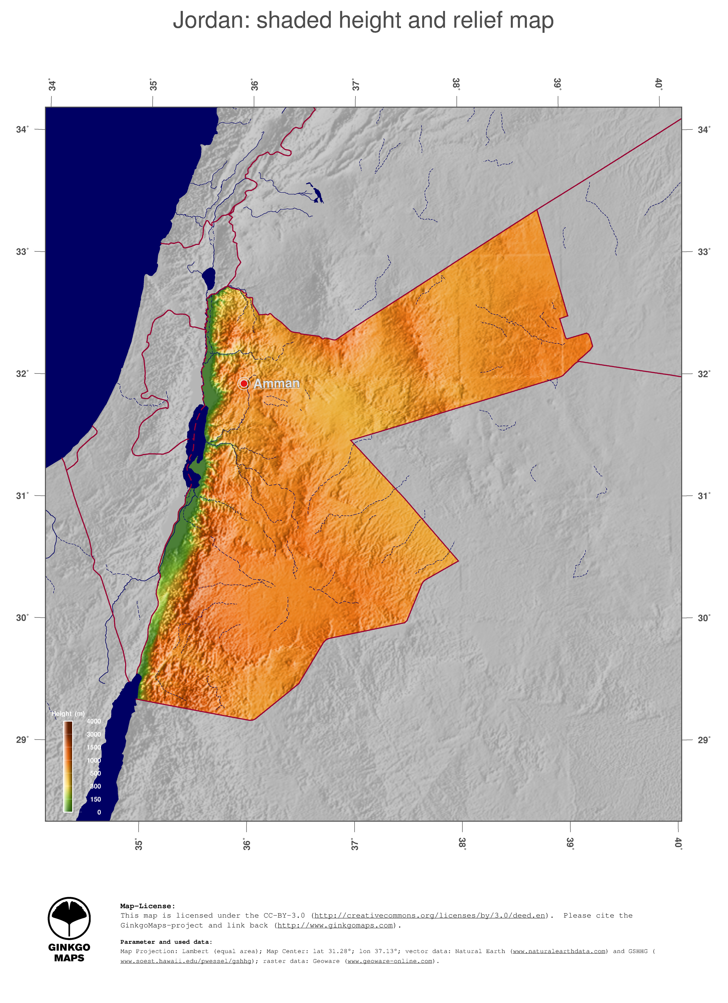 Map Jordan GinkgoMaps Continent Asia Region Jordan - Jordan map hd pdf