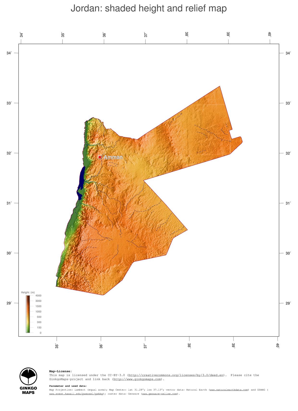 Map Jordan GinkgoMaps continent Asia region Jordan