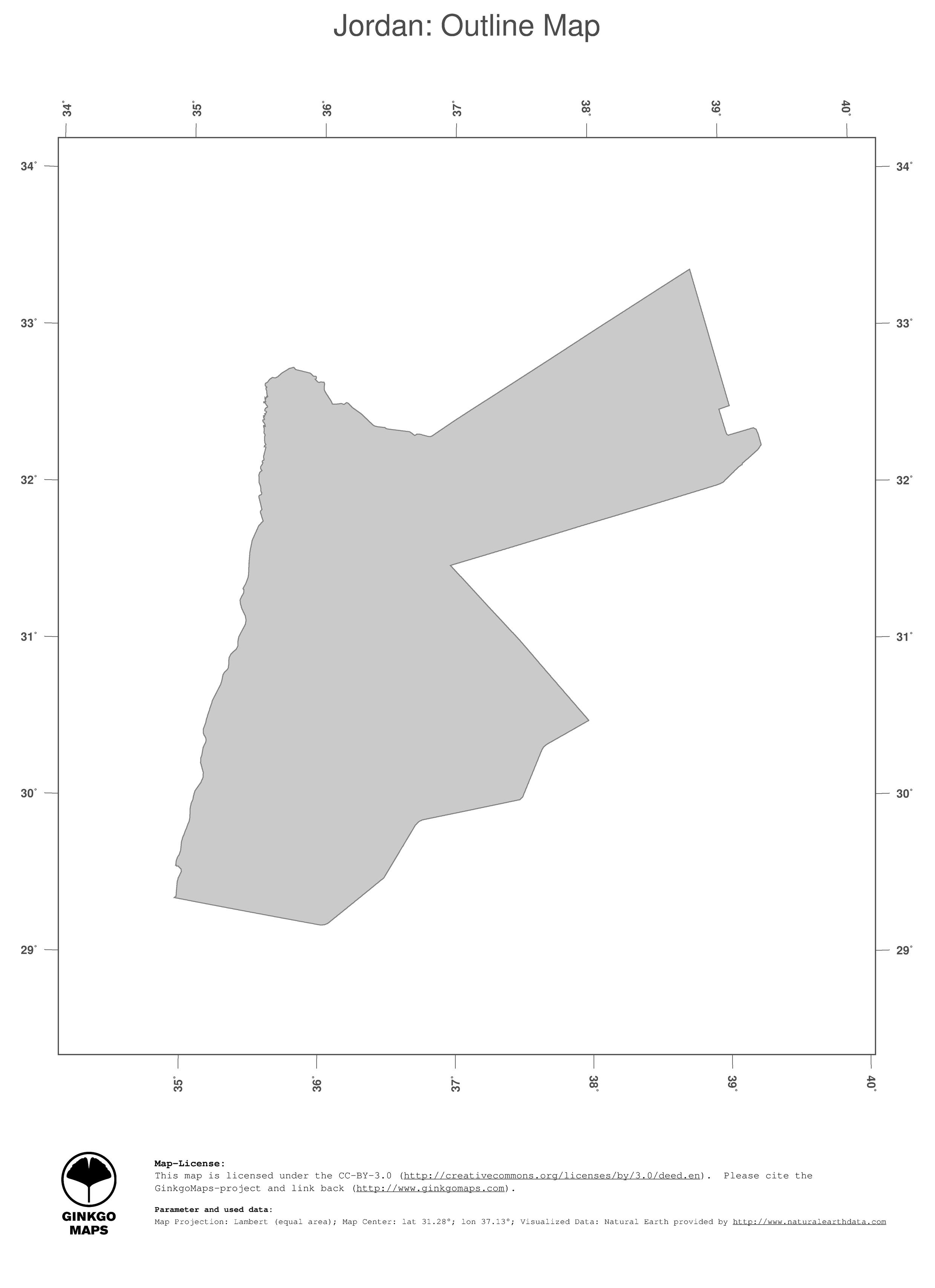 Map Of Asia Jordan.Map Jordan Ginkgomaps Continent Asia Region Jordan
