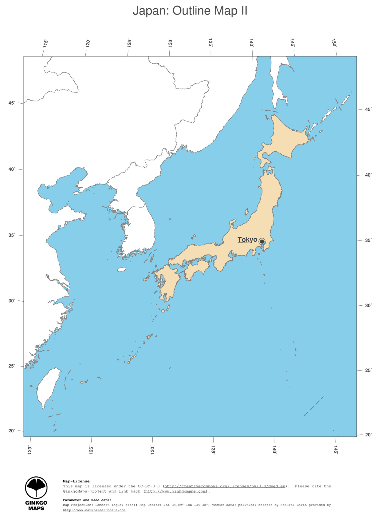 Map japan ginkgomaps continent asia region japan 2 map japan political country borders and capital outline map gumiabroncs Images