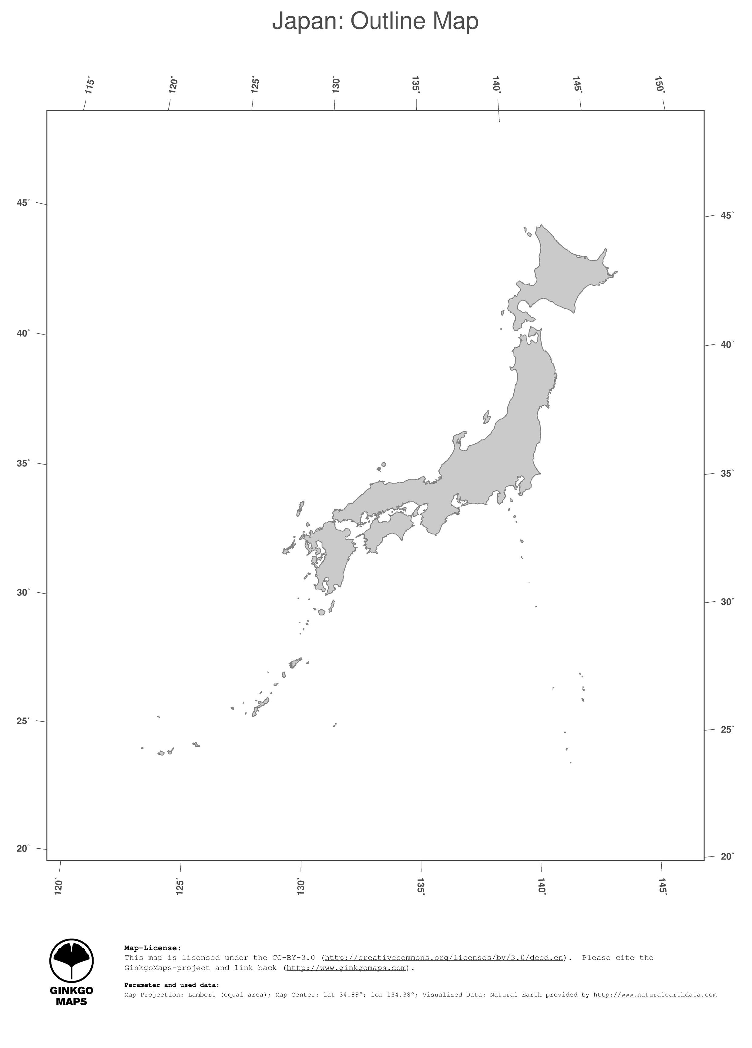 Map Japan GinkgoMaps Continent Asia Region Japan - Japan map outline