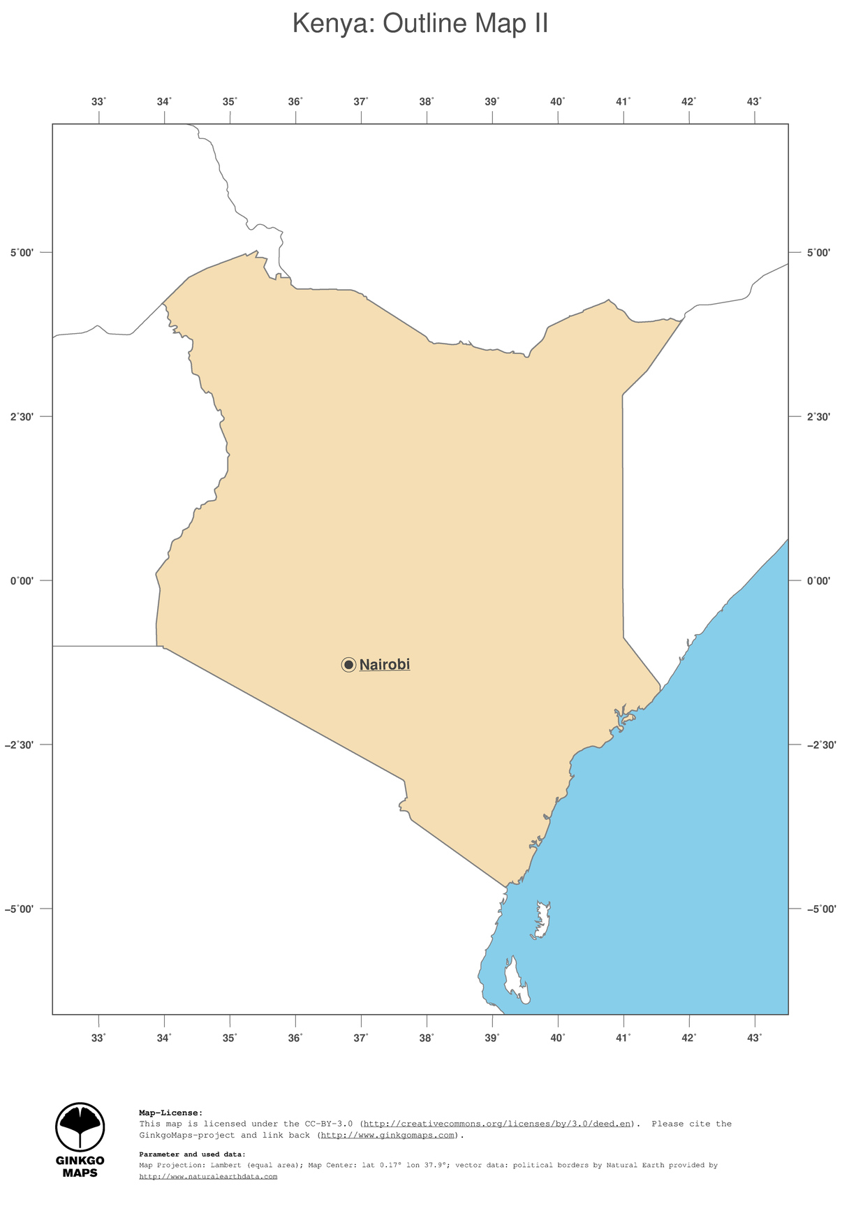 Map Kenya; GinkgoMaps continent: Africa; region: Kenya
