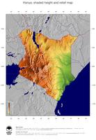 #5 Map Kenya: color-coded topography, shaded relief, country borders and capital