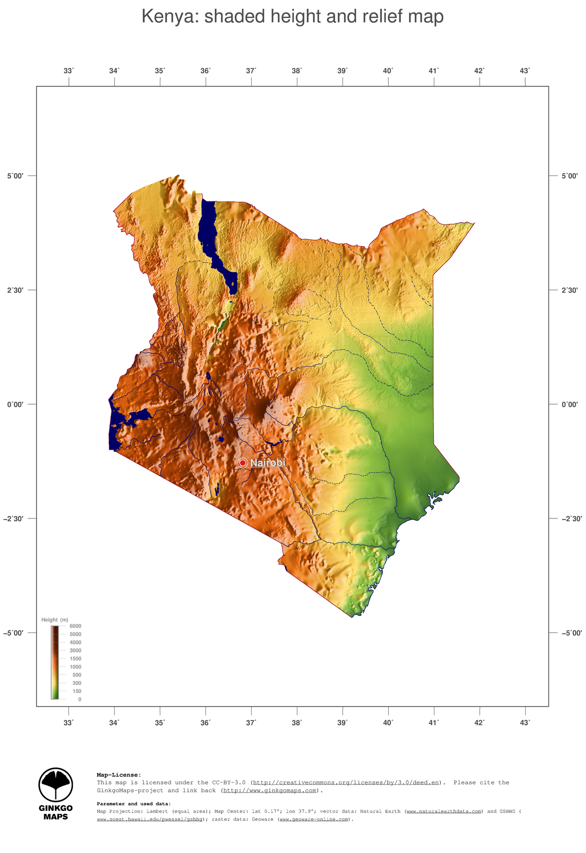 3 map kenya color coded topography shaded relief country borders and