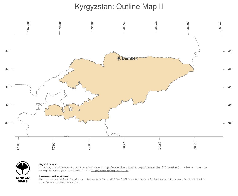 Map Kyrgyzstan GinkgoMaps continent Asia region Kyrgyzstan