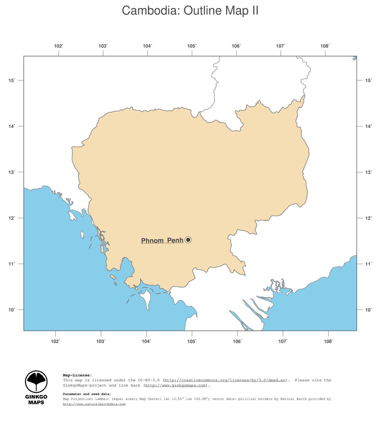 Map Cambodia; GinkgoMaps continent: Asia; region: Cambodia