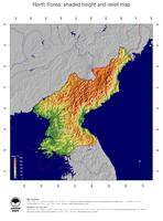 #5 Map North Korea: color-coded topography, shaded relief, country borders and capital