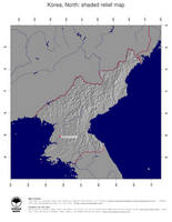 #4 Map North Korea: shaded relief, country borders and capital