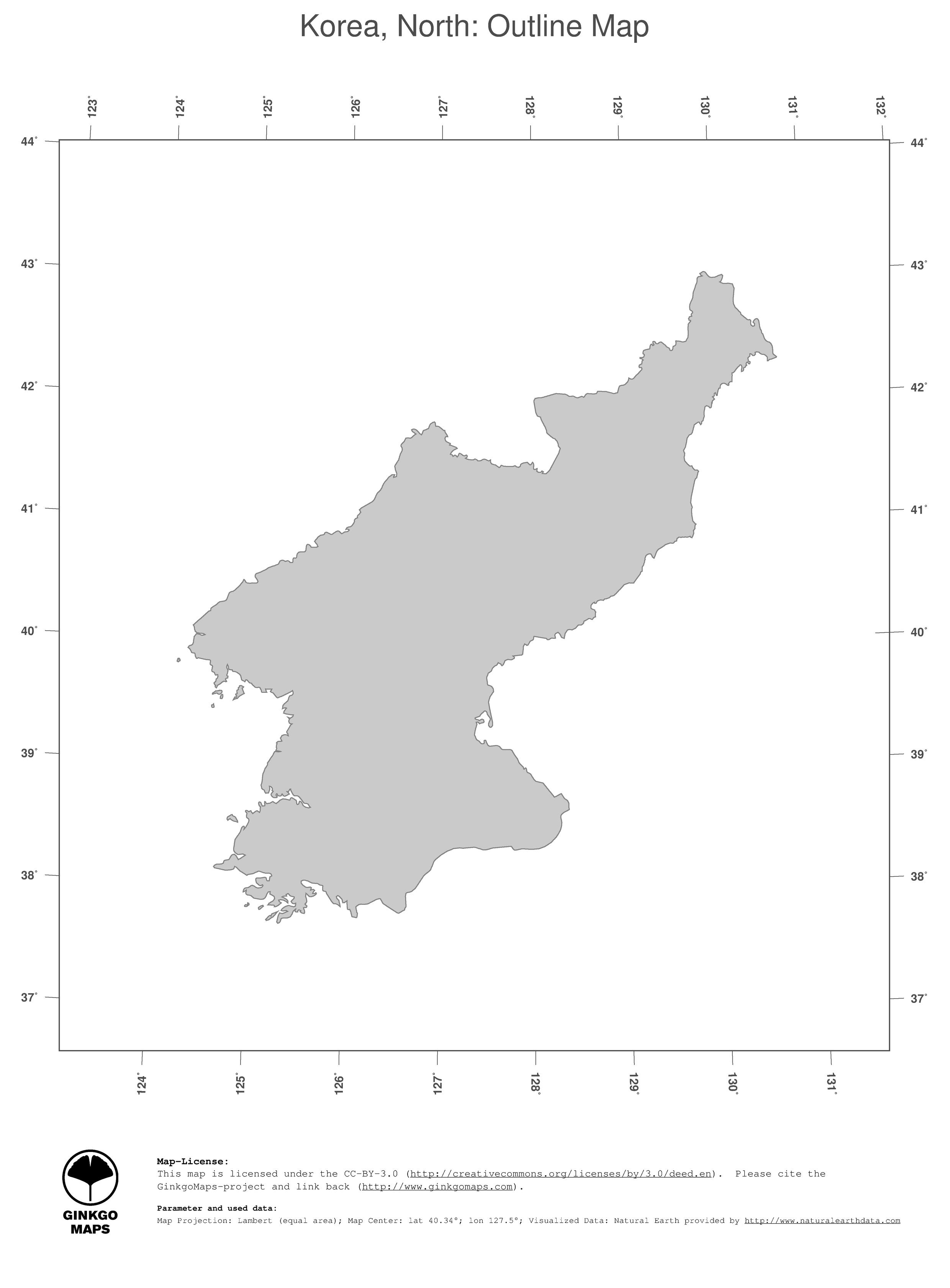 Image of: Map Korea North Ginkgomaps Continent Asia Region Korea North