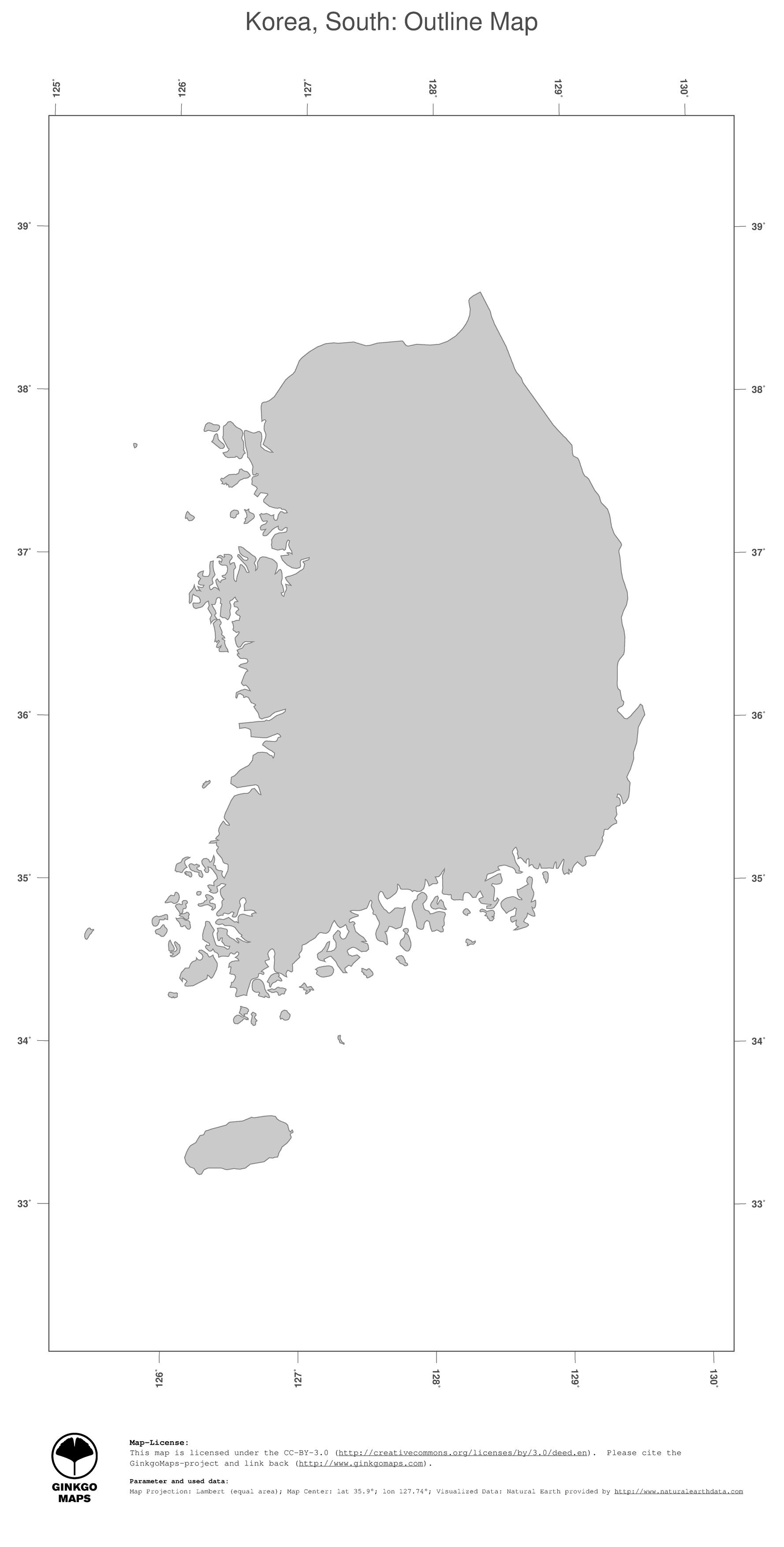 Map Korea South GinkgoMaps continent Asia region Korea South