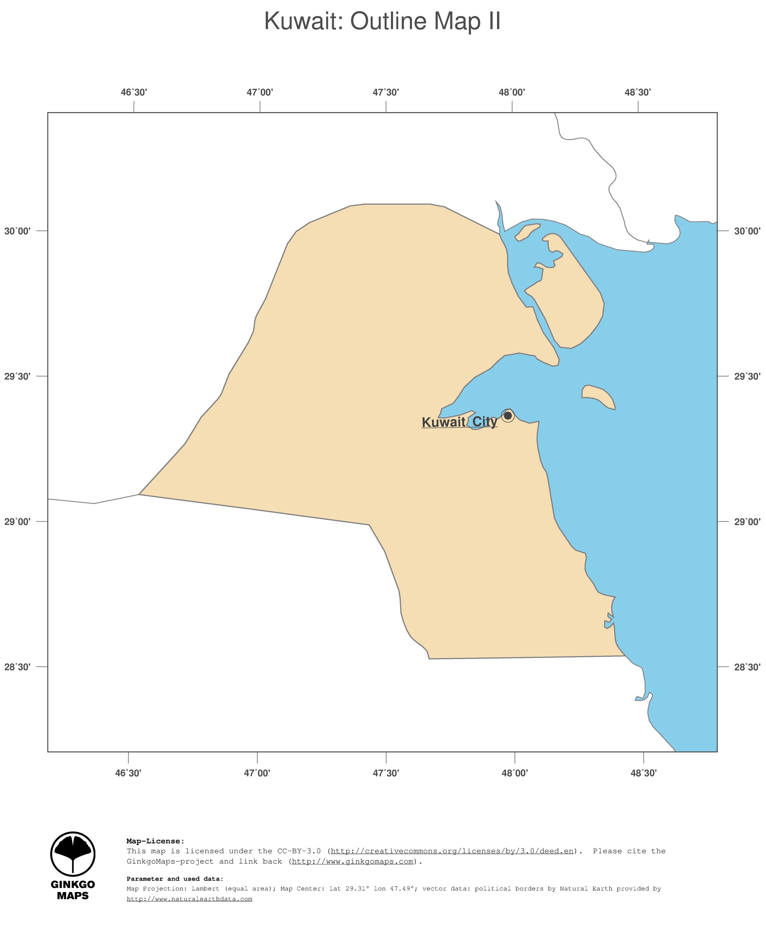 Kuwait Political Map.Map Kuwait Ginkgomaps Continent Asia Region Kuwait