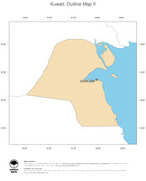 #2 Map Kuwait: political country borders and capital (outline map)