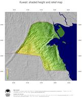 #5 Map Kuwait: color-coded topography, shaded relief, country borders and capital