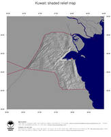 #4 Map Kuwait: shaded relief, country borders and capital
