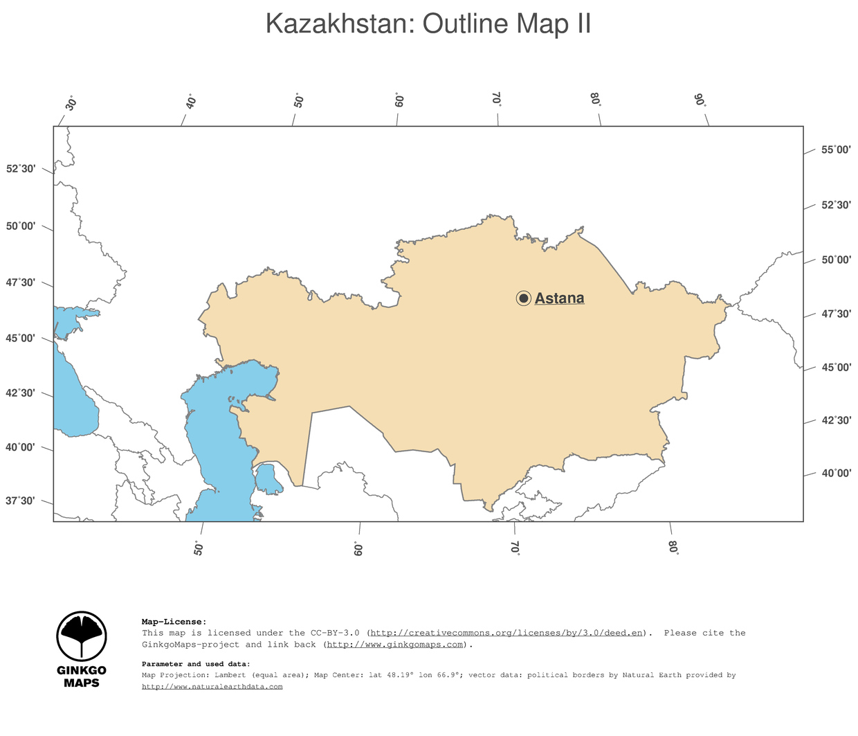 Map Kazakhstan; GinkgoMaps continent: Asia; region: Kazakhstan