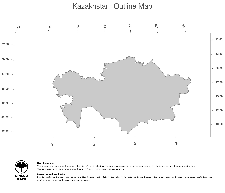 Map Kazakhstan GinkgoMaps continent Asia region Kazakhstan