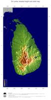 #5 Map Sri Lanka: color-coded topography, shaded relief, country borders and capital