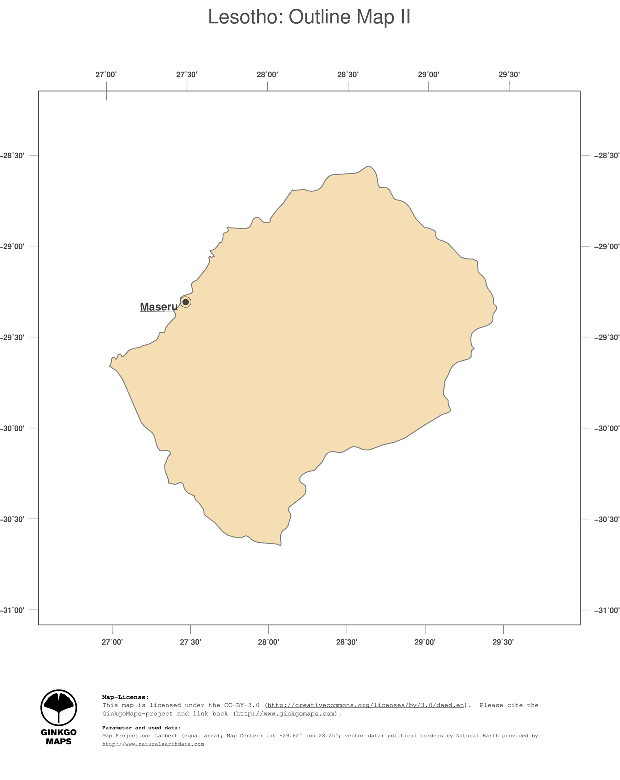 Map Lesotho GinkgoMaps Continent Africa Region Lesotho - Lesotho political map