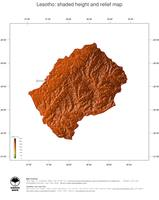 #3 Map Lesotho: color-coded topography, shaded relief, country borders and capital