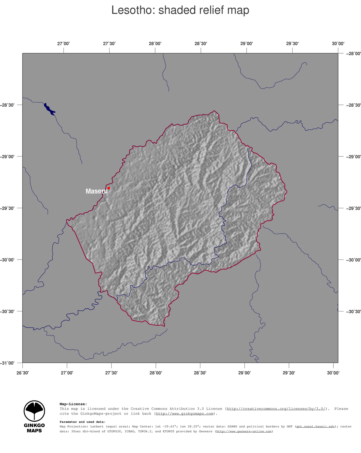Lesotho Maps Pdf 4 Map Lesotho Shaded Relief