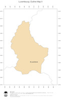 #2 Map Luxembourg: political country borders and capital (outline map)