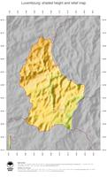 #5 Map Luxembourg: color-coded topography, shaded relief, country borders and capital