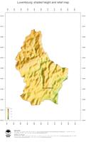 #3 Map Luxembourg: color-coded topography, shaded relief, country borders and capital