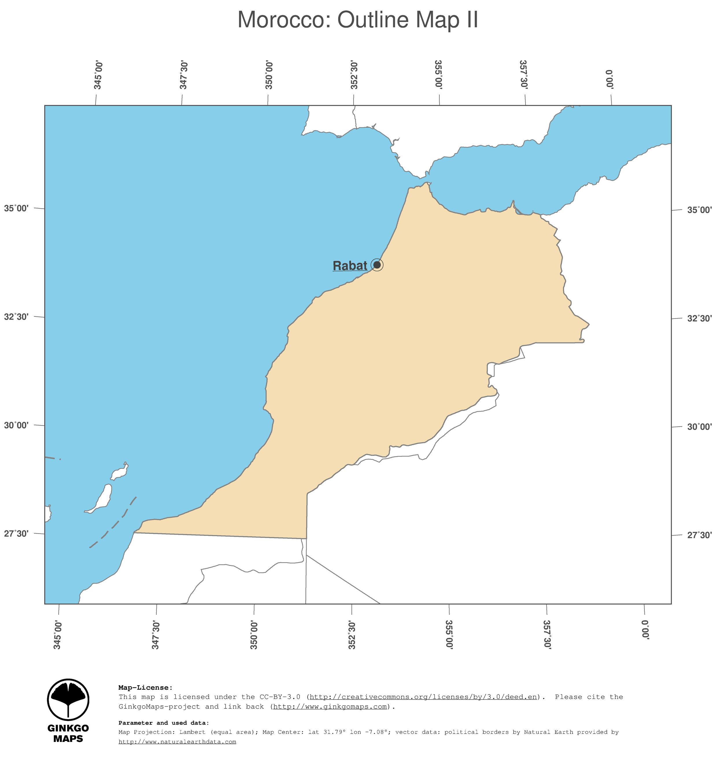 Map Morocco GinkgoMaps continent Africa region Morocco
