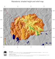 #5 Map Macedonia: color-coded topography, shaded relief, country borders and capital