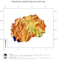 #3 Map Macedonia: color-coded topography, shaded relief, country borders and capital