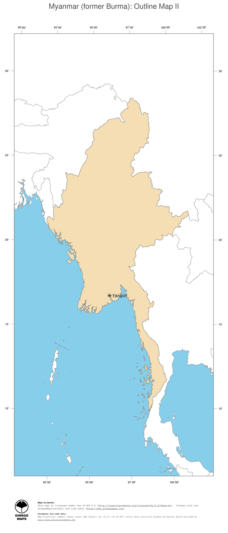 Myanmar On Map Of Asia.Map Myanmar Former Burma Ginkgomaps Continent Asia Region