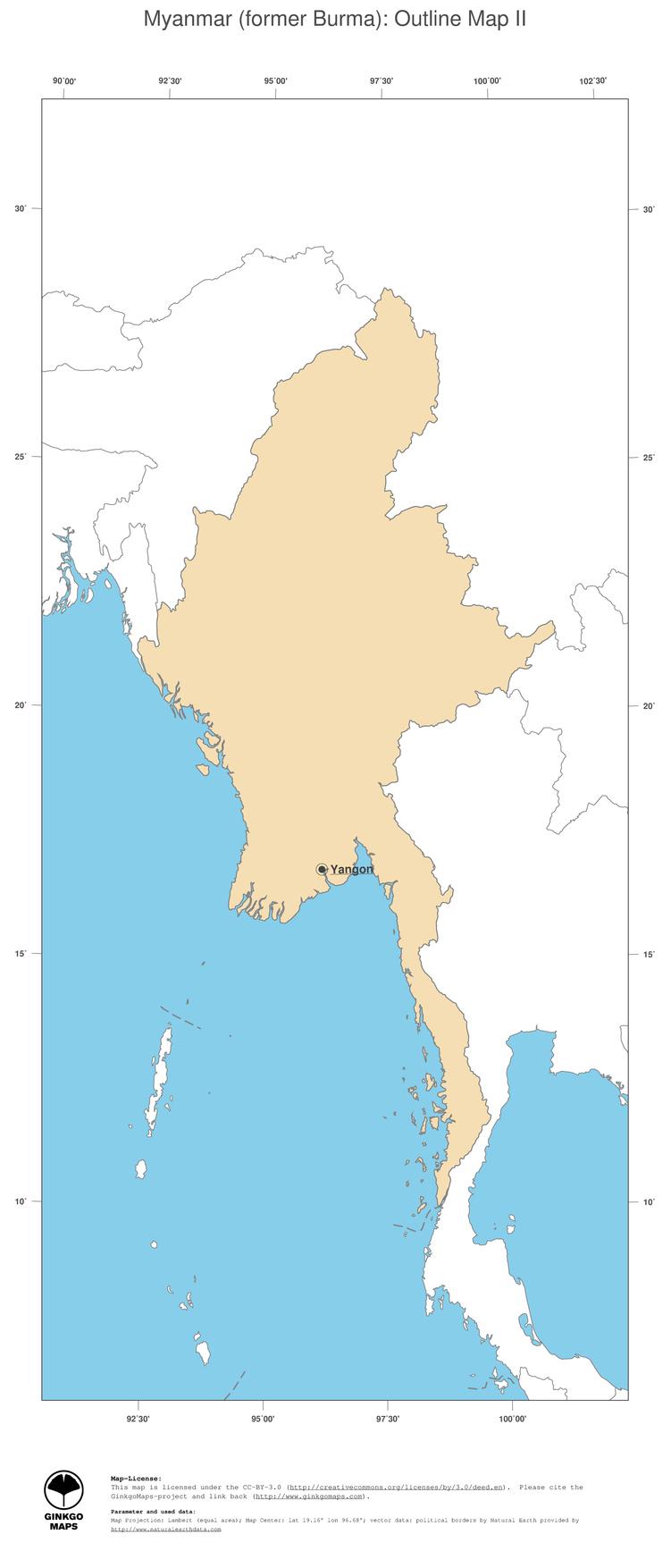 Map Myanmar Former Burma GinkgoMaps Continent Asia Region - Map of burma
