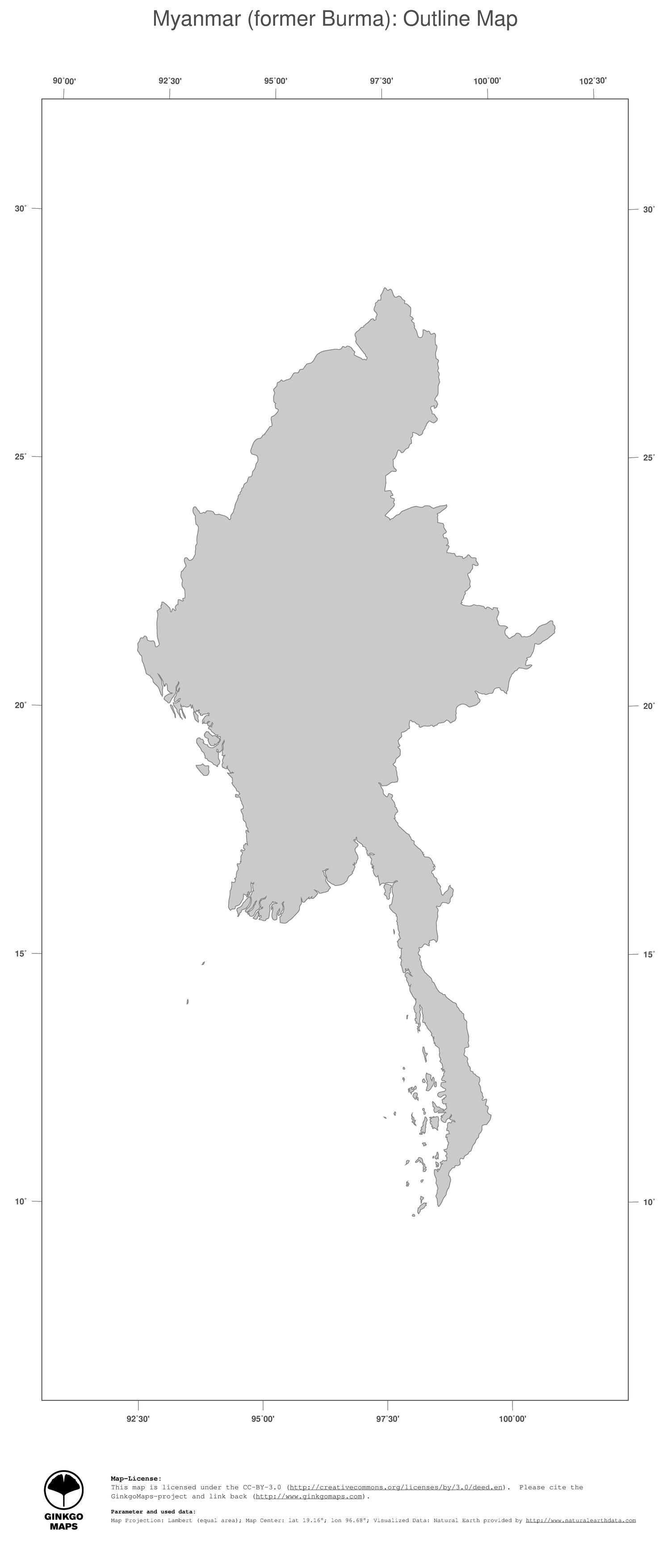 Map Myanmar former Burma GinkgoMaps continent Asia region