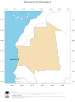 #2 Map Mauritania: political country borders and capital (outline map)