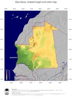 #5 Map Mauritania: color-coded topography, shaded relief, country borders and capital