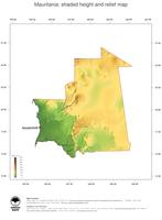 #3 Map Mauritania: color-coded topography, shaded relief, country borders and capital