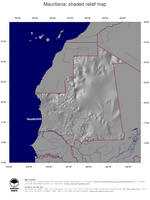 #4 Map Mauritania: shaded relief, country borders and capital