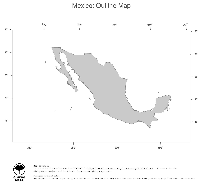 map mexico ginkgomaps continent north america region mexico