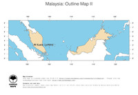 #2 Map Malaysia: political country borders and capital (outline map)
