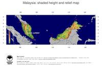 #5 Map Malaysia: color-coded topography, shaded relief, country borders and capital